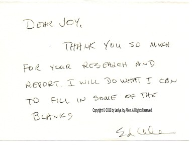 """Thank You Note"" from Dr. Edward B. Allen to Leslye Joy Allen, July 1997. ((Copyright © Leslye Joy Allen Photo & Document Collection. All Rights Reserved.)"